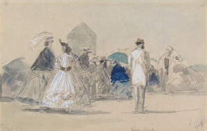 Art Prints of Crinolines on the Beach by Eugene Boudin