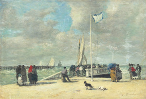 Art Prints of On the Jetty by Eugene Boudin