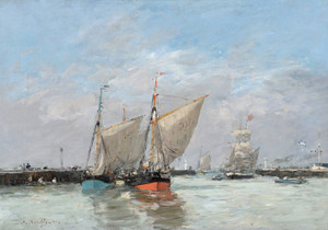 Art Prints of The Jetties at High Tide, Trouville by Eugene Boudin