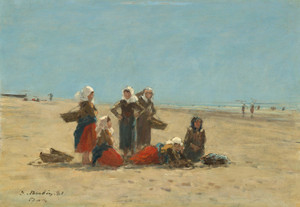 Art Prints of Women on the Beach at Berck by Eugene Boudin