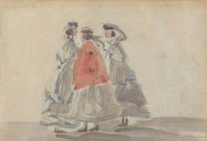 Art Prints of Three Women at Trouville by Eugene Boudin