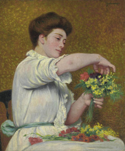 Art Prints of Woman Arranging Flowers by Federico Zandomeneghi