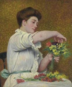Art Prints of Woman Arranging Flowers by Federico Zandomeneghi