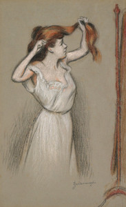 Art Prints of Woman Fixing Her Hair by Federico Zandomeneghi