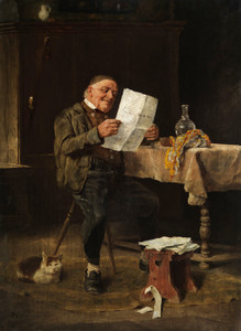Art Prints of Reading the Newspaper by Felix Schlesinger