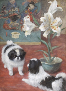 Art Prints of Two Japanese Chin in an Interior by Frances Fairman