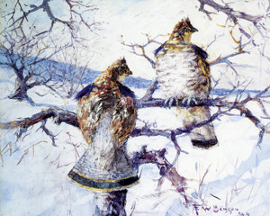 Art Prints of Two Grouse by Frank Weston Benson