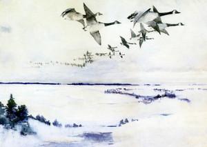 Art Prints of Flying Geese by Frank Weston Benson