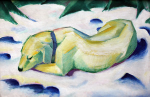 Art Prints of Dog Lying in the Snow by Franz Marc