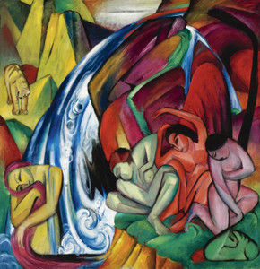 Art Prints of Women Under the Waterfall by Franz Marc