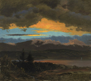 Art Prints of Sunset across the Hudson Valley New York by Frederic Edwin Church