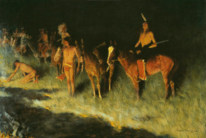 Art Prints of The Grass Fire by Frederic Remington