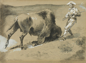 Art Prints of The Great Beast Came Crashing to the Earth by Frederic Remington
