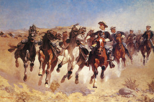 Art Prints of The Fourth Trooper Moving the Led Horses, 1890 by Frederic Remington