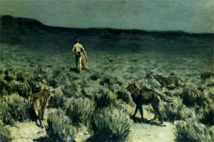 Art Prints of Wolves Sniffed Along the Trail but Came No Nearer by Frederic Remington