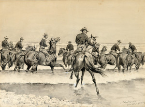 Art Prints of Watering the Texas Horses of the Third Cavalry by Frederic Remington