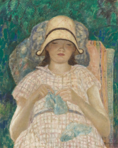 Art Prints of Girl Knitting by Frederick Carl Frieseke