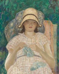 Art Prints of Girl Knitting by Frederick Carl Frieseke