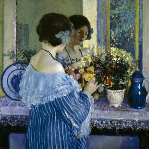 Art Prints of Girl in Blue Arranging Flowers by Frederick Carl Frieseke