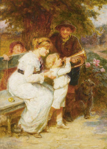 Art Prints of Learning to Play the Trumpet by Frederick Morgan