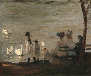 Art Prints of Swans in Central Park by George Bellows