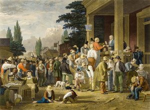 Art Prints of The County Election by George Caleb Bingham