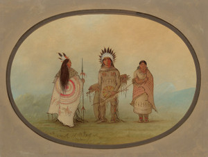 Art Prints of A Crow Chief a Warrior and His Wife by George Catlin