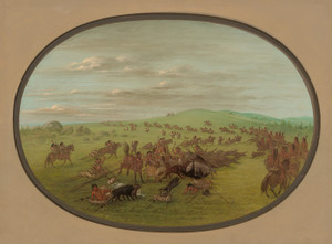 Art Prints of Camanchees Moving by George Catlin