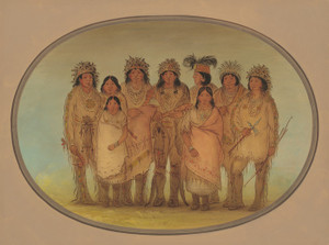 Art Prints of Nine Ojibbeway Indians in London by George Catlin