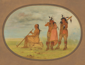 Art Prints of Old Menomonie Chief with Two Young Beaux by George Catlin