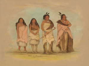 Art Prints of Pawneepict Chief, two Daughters and a Warrior by George Catlin
