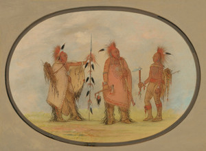 Art Prints of Osage Chief with Two Warriors by George Catlin