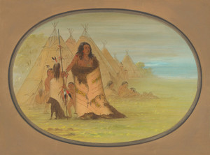 Art Prints of Puncah Chief Surranded by His Family by George Catlin