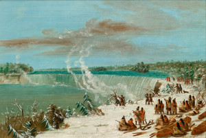 Art Prints of Portage Around the Falls of Niagara at Table Rock by George Catlin