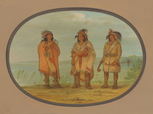 Art Prints of Seneca Chief Red Jacket with Two Warriors by George Catlin