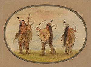 Art Prints of Three Mandan Warrior Armed for War by George Catlin