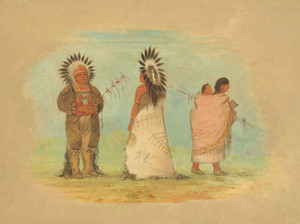 Art Prints of Two Ottoe Chiefs and a Woman by George Catlin