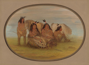 Art Prints of A Camanchee Chief with Three Warriors by George Catlin