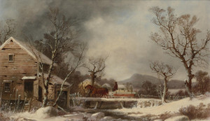 Art Prints of Winter, the Old Mill by George Henry Durrie