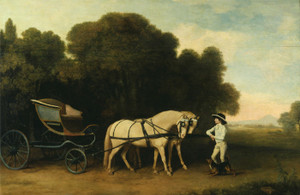 Art Prints of Phaeton with a Pair of Cream Ponies and a Stable Lad by George Stubbs
