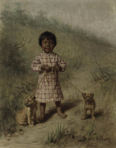 Art Prints of Greenie with Two Yellow Puppies by Grace Carpenter Hudson