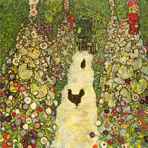 Art Prints of Garden Path with Chickens, 1916 by Gustav Klimt