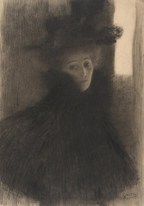 Art Prints of Portrait of a Lady with Cape and Hat by Gustav Klimt