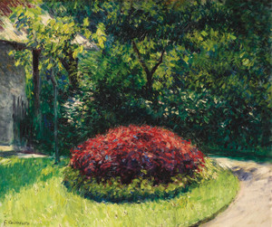 Art Prints of Little Flower Garden in Gennevilliers by Gustave Caillebotte