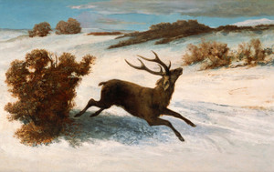 Art Prints of Deer Running in the Snow by Gustave Courbet