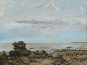 Art Prints of La Plage a Trouville by Gustave Courbet