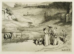 Art Prints of Les Demoiselles de Village by Gustave Courbet