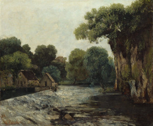 Art Prints of The Weir at the Mill by Gustave Courbet