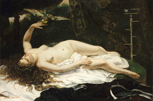 Art Prints of Woman with a Parrot by Gustave Courbet