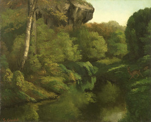 Art Prints of View in the Forest of Fontainebleau by Gustave Courbet